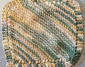 Handmade Knitted Dishcloth - Country Sage Ombre