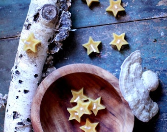 Beeswax Star Candles - Set of 10