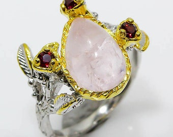 Natural Morganite 925 Sterling Silver & 14K Gold Ring Size 6 - Fine Art Ring - Handmade Ring - Engagement ring size 6 Elegant Ring