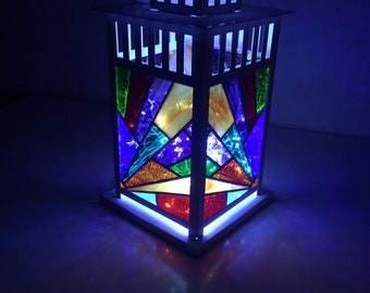 Stained Glass Lantern, patio Lantern, One Of A Kind