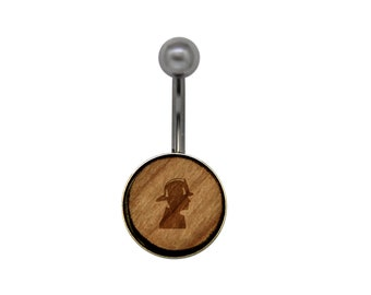 Firefighter Surgical Stainless Steel Belly Button Rings - Size 14 Gauge Wooden Navel Ring - Rustic Wood Navel Ring