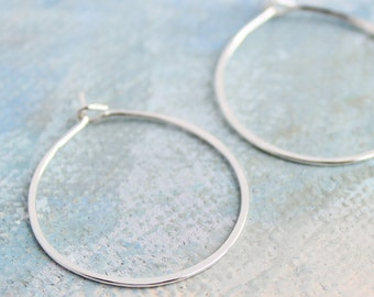 "Silver Hoop Earrings Small Sterling Silver 1"" thin silver hoop earrings, silver earrings"