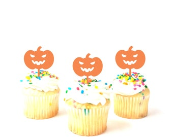 MADE In USA, Pumpkin Cupcake Toppers Set of 3, Orange Halloween Cupcake Toppers, Cupcake toppers Halloween Party Halloween Cake Decor