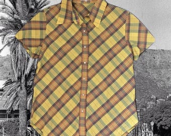 Vintage Madras Plaid Shirt Lui Chatant Summer Blouse Button Up Pearlized Snaps Yellow Cotton Top Short Sleeves Fitted Blouse