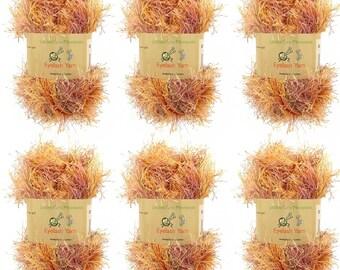 Eyelash Yarn - 6 x 50g Skeins - Autumn