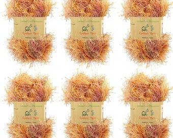 Eyelash Yarn - 6 x 50g Skeins - Color 28 - Autumn