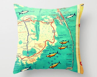 North Carolina Map Pillow Cover 18x18  High School Graduation Gift for Her, for Him, Dorm Pillow, NC Home Outer Banks Map Pillow, OBX Pillow