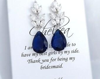 Dark Blue Earrings, Navy Earrings, Navy Crystal Earrings, Dark Sapphire Earrings, Bridesmaid Earrings, Bridesmaid Gift, Wedding Earrings