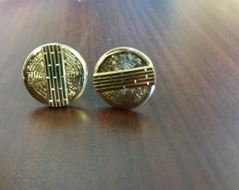 Round gold tone cuff links