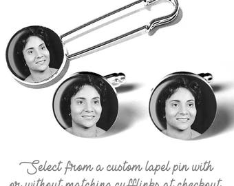 Personalized Memorial Picture Custom Photo Cufflinks-Lapel Pin Boutonniere Brooch, Grooms Gift, Tuxedo Accessory, Wedding Accessory