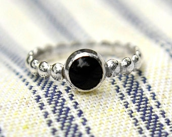 Onyx Stacking Ring, Sterling Silver Petite Stacking Ring with Black Onyx Cabochon, Bridesmaid's Gifts