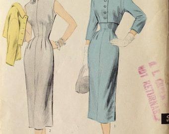 """Advance 6703 Sewing Pattern 1950s Dress and Jacket Fitted with Darts Three Quarter Sleeves RARE Unprinted Pattern Factory Folds Bust 32"""""""