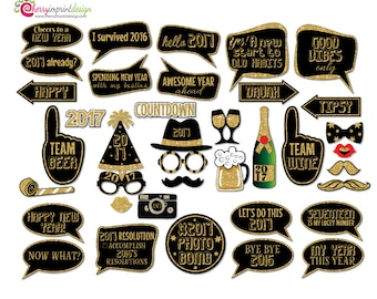 38 Funny 2017 New Year Countdown Photo Booth Props - Black and Gold Glitter - INSTANT DOWNLOAD - DIY Printable (Pdf and High-Res Jpeg)
