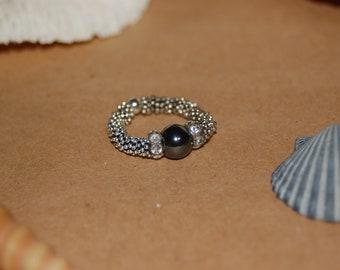 Black Swarovski Crystal Ring