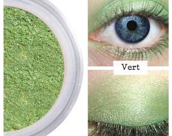 Green Eyeshadow, Mineral Makeup, Vert Lime Green Shadow, Bright Green, Eye Make Up, Professional, Crease Free, Shimmer For Eyes, Vegan, VERT