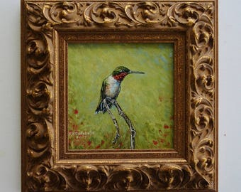 Male Ruby-throated Hummingbird Oil Painting