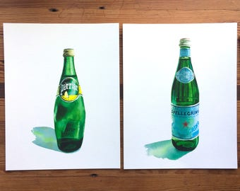 San Pellegrino and Perrier TWO-PRINT SET - 11x14 Seltzer Watercolor Prints - Affordable Kitchen Statement Art Mineral Sparkling Water