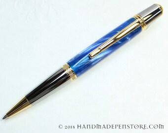 Handmade ballpoint pen - COBALT BLUE acrylic with Black Titanium/Titanium Gold in Sierra style