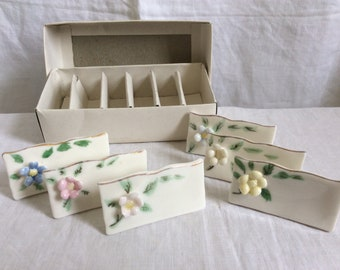 A Set of 6 Place Name Settings, 1960s floral china.
