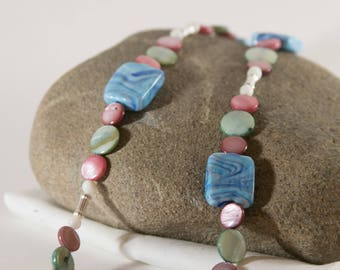 Blue, Green, and Pink Long Necklace