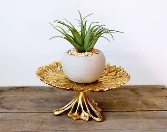 Vintage Gold Leaf Metal Pedestal Stand * Jewelry Holder * Candle Holder * Plant Stand