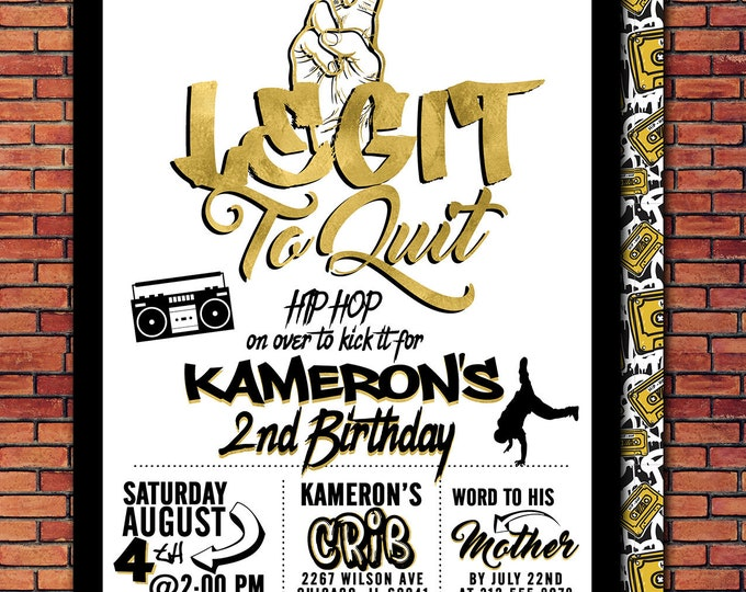 Two Legit To Quit, 2 Legit to Quit Hip Hop Birthday Invitation, 90s Party Invitation, Hop Hop Birthday Party, Printable Invitation