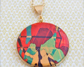 Vintage Locket Original Art Alyson Fox Abstract Art Illustration Jewelry Lockets Antique Necklace Custom Photograph Gift for Her Portland