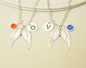 Guardian angel gifts, Guardian angel necklace, angel wing necklace, angel wing pendant, mother daughter necklace set, Sister necklace set