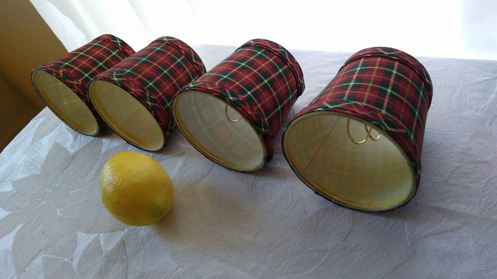 Set of 4 matching plaid tartan chandelier shades red black green yellow arubaitofo Choice Image