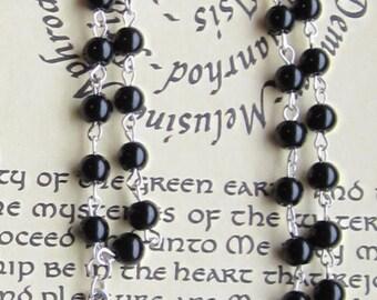 Satanic Rosary, Inverted cross & Pentagram, Black