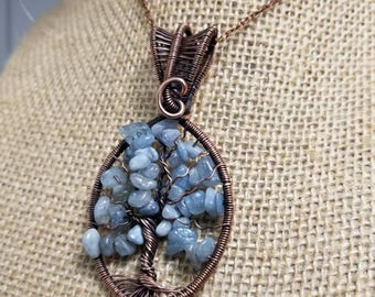 Oxidized copper Tree of Life with Aquamarine gemstone chips.
