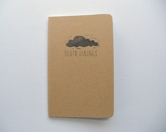 Coworker gift, Gratitude journal, moleskine notebook, silver lining pocket notebook, happy thoughts, positive affirmations, meaningful gifts