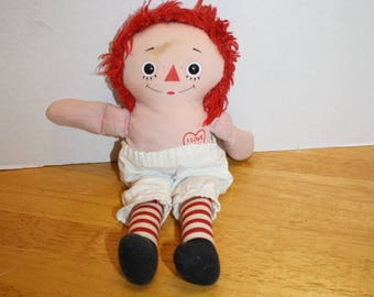 Vintage Raggedy Ann Cloth Doll  I love you heart   11 inch doll