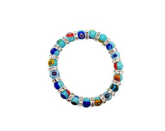 Murrine Swarovsky Mosaic Bracelet Elastic Murano Glass Made in Italy