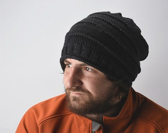 Easy Knit Slouchy Beanie Pattern - Sizes- Child, Adult, Large Adult.