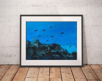 "Underwater animal art print, Ocean art gift, Bathroom print painting, Blue Landscape painting print, Art present for her, ""The Gully"""