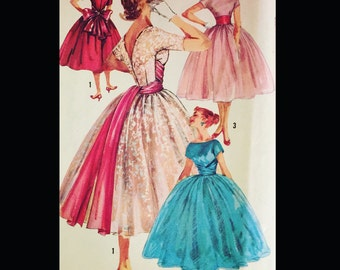 Vintage 50s Cummerbund Waist Full Skirt Party Cocktail Prom Dress 1795 B36