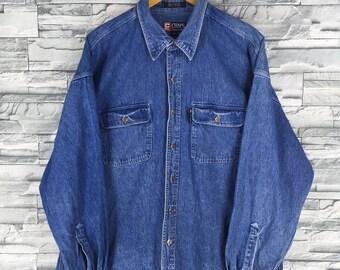CHAPS RALPH LAUREN Denim Shirt Xl Vintage 90's Ralph Lauren Buttondown Shirt Flannel Western Blue Jeans Boyfriend Shirt Xl