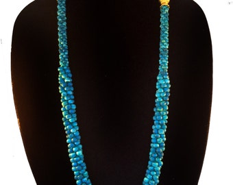 Glamour Girl Long NECKLACE Turquoise Blue and Gold Beaded Layered Necklace Clustered wood bead Necklace