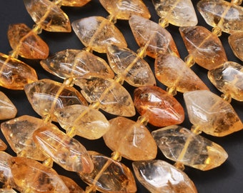 """AAA Quality Gemmy Natural Golden Citrine Nuggets Double Terminated Pointed Leaf Marquise Beads 16"""" Strand"""