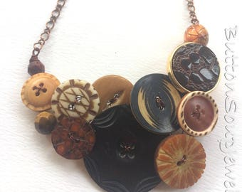 Earthy Tribal Brown Vintage Button Large Statement Necklace - Rustic Brown