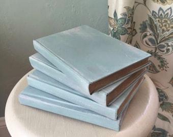Painted Books, Duck Egg Books, Farmhouse Decor, Farmhouse Wedding, Rustic Wedding, Duck Egg, Interior Design Trends, Rustic Books, Bridal