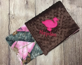 Pink Camo Baby Blanket, Duck Hunting Baby Blanket, Camo Personalized Baby Gift, Camo Baby Blanket, Baby Blanket Girl, Pink Camouflage