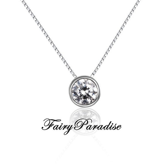 Petite 05 ct bezel set solitaire pendant necklace round cut like this item mozeypictures Image collections