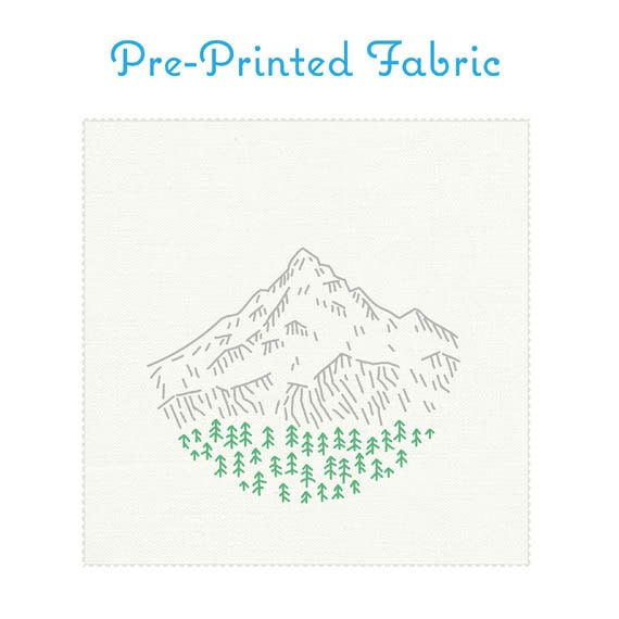 Mt Hood Pre Printed Fabric For Embroidery Portland Embroidery