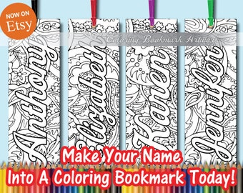 4 Custom Name or Saying and custom background image on Coloring Bookmarks with Ribbon / Personalized Bookmarks