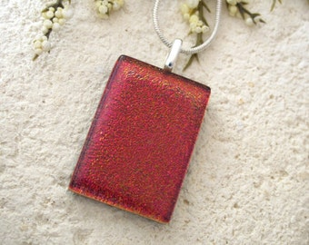 Handmade Red Dichroic Necklace, Dichroic Jewelry, Dichroic Glass Necklace, Red Necklace, Fused Glass Jewelry, ccvalenzo, 061918p102