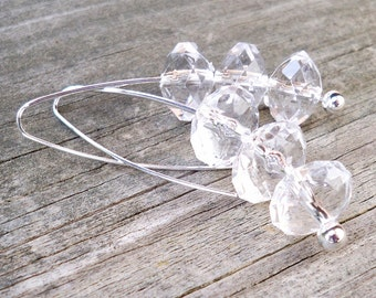 LONG CLEAR EARRINGS Modern Clear Earrings Clear Bead Earrings Clear Dangle Earrings Faceted Clear Rondel Silver Dangle Beaded Earrings