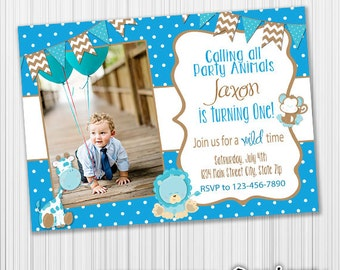 Jungle Birthday Invitation, Safari Party, Announcement, Any Age, Custom, Printable, Digital