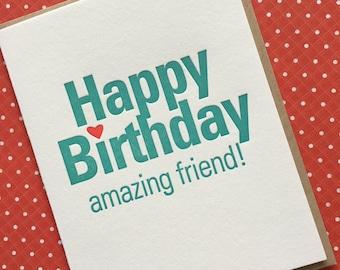 Letterpress Card - Happy Birthday Amazing Friend